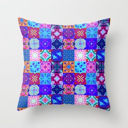 Bohemian Jungle Quilt Tiles 2 Throw Pillow