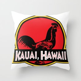 Kauai, Hawaii Jurassic Park Rooster Throw Pillow