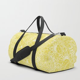 Modern trendy white floral lace hand drawn pattern on meadowlark yellow Duffle Bag