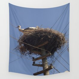 Storks on Electric Pylon  Wall Tapestry