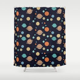 Multicolored planets amoung shining stars Shower Curtain