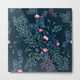 Floral - Blue & Pink Metal Print