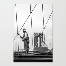 Painting the Brooklyn Bridge Canvas Print