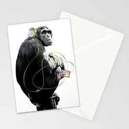 Monkey Listens to Music Stationery Cards