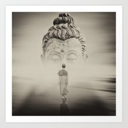 Walk To Buddhism Art Print