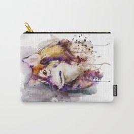 Watercolor Wolf Portrait Carry-All Pouch