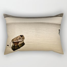 Lone boats on Phewa Lake, Pokhara, Nepal Rectangular Pillow