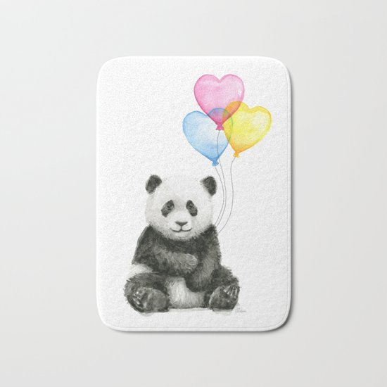 Panda Baby with Heart-Shaped Balloons Whimsical Animals Nursery Decor Bath Mat