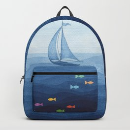 Coloured fish say hooray Backpack