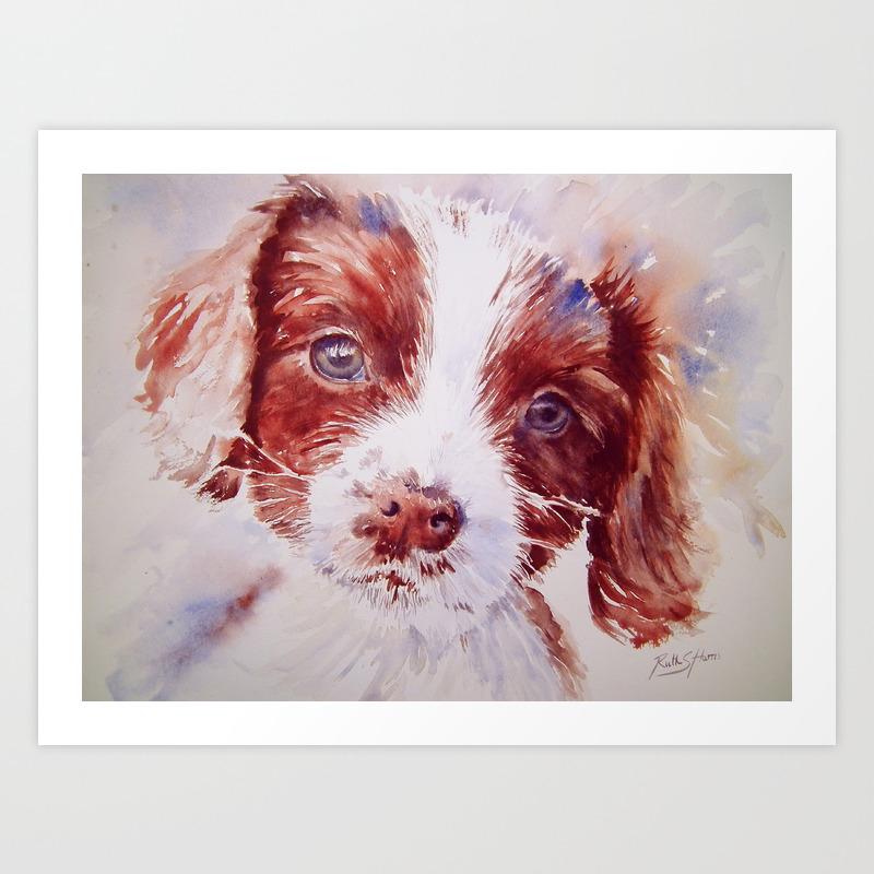 Cute English Springer Spaniel Puppy Art Print By Ruthsharris Society6