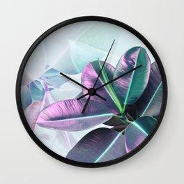 Violet Tropical Plant Wall Clock