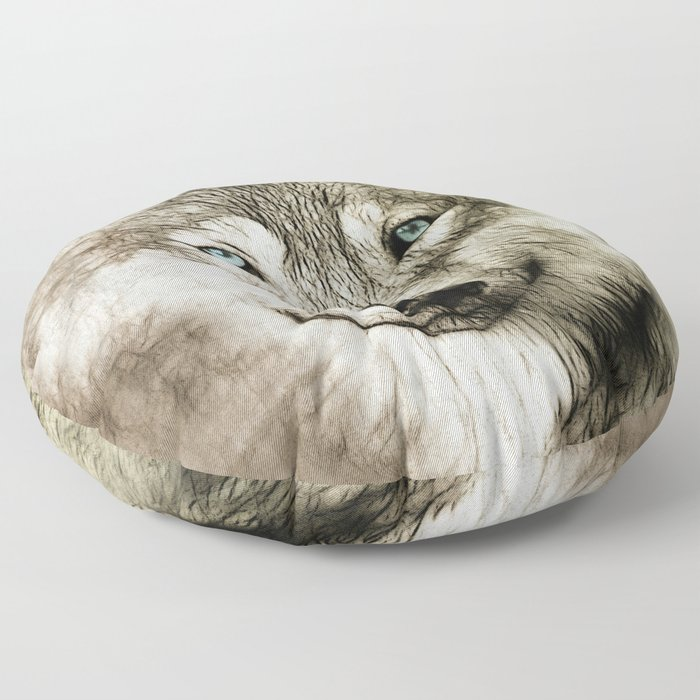 Smokey Sketched Wolf Floor Pillow