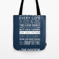 doctor who Tote Bags featuring Doctor Who by Sarah Jane Rozman