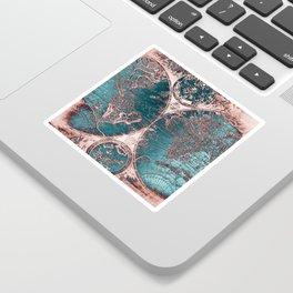Antique World Map Pink Quartz Teal Blue by Nature Magick Sticker