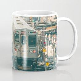 Two El Trains Above Wabash in Chicago Train Subway Elevated Coffee Mug