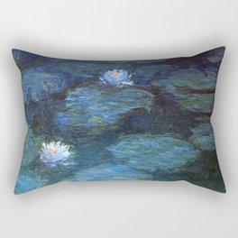 Monet water lilies 1899 blue teal Rectangular Pillow