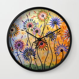 Abstract Art Flowers Floral Original Painting ... Explosion of Joy Wall Clock