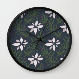 Poinsettias and Holly Wall Clock