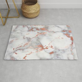 Glam stylish faux rose gold gray abstract blush chic marble Rug