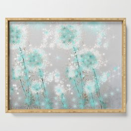 Dandelions in Turquoise Serving Tray