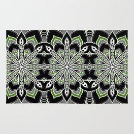 Mandala: Black White Green Flower Rug