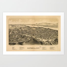 Vintage Pictorial Map of Catskill New York (1889)  Art Print