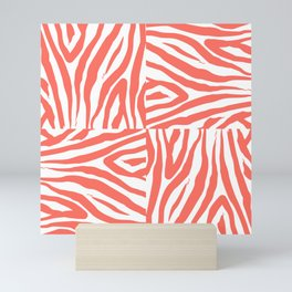 Coral Zebra Print Squares Mini Art Print