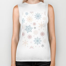 Pattern of pastel snowflakes and stars Biker Tank
