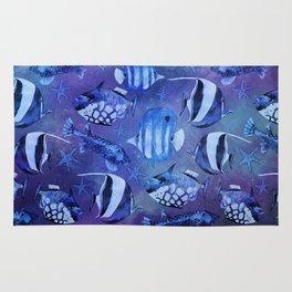 Watercolor fish pattern dark blue Rug