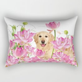 Labrador Retrievers with Lotos Flower Rectangular Pillow