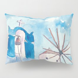 Santorini Oia Greece Windmill and Bell Tower Pillow Sham