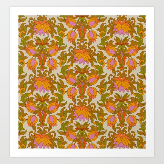 Orange, Pink Flowers and Green Leaves 1960s Retro Vintage Pattern by eyestigmatic_design