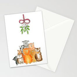 Cats under the mistletoe card Stationery Cards