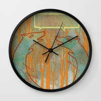 foxes Wall Clocks featuring Foxes by Ariel Wilson