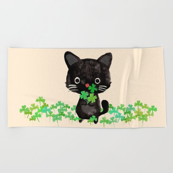 The Luckiest Cat Beach Towel