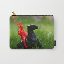 Red Indian on a Black Horse in the Green Grass Carry-All Pouch