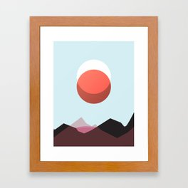 Minimalist Red Moon Lunar Eclipse with Mountains Framed Art Print