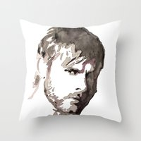 charlie brown Throw Pillows featuring Charlie Watercolour by Sophie Brown Art