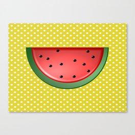 Watermelon and Polka Dots Canvas Print