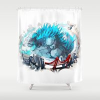 godzilla Shower Curtains featuring Godzilla by Sa-Dui