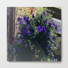 Purple Petunias At The Coffee Shop Metal Print