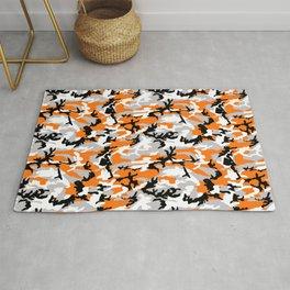 Orange Camouflage Pattern Rug