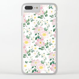 pink and white rose pattern Clear iPhone Case