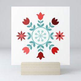 Scandinavian Style Flowers Teals & Reds Wheel Mini Art Print