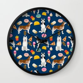 Husky siberian huskies junk food cute dog art sweet treat dogs pet portrait pattern Wall Clock