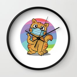 Cat With Face Mask Wall Clock