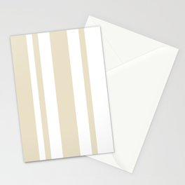 Mixed Vertical Stripes - White and Pearl Brown Stationery Cards