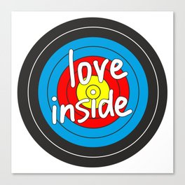 Love inside yellow, red, blue, black target Canvas Print