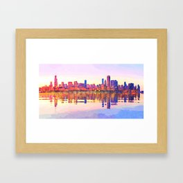 Water color painting of Chicago skyline Framed Art Print