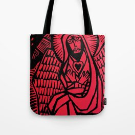 Me - Red - Traditional Surrealism Print Tote Bag